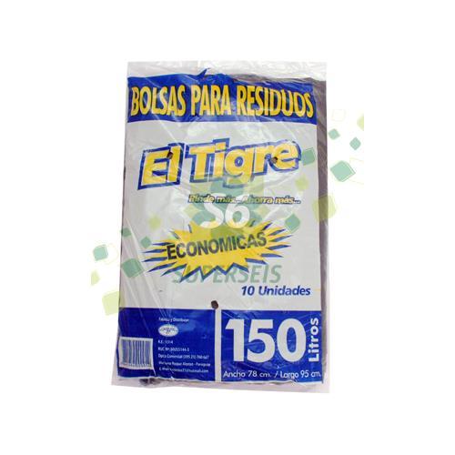 Foto BOLSA PARA RESIDUOS EL TIGRE ECONOMICA 150 LT X 10 UNIDADES  de
