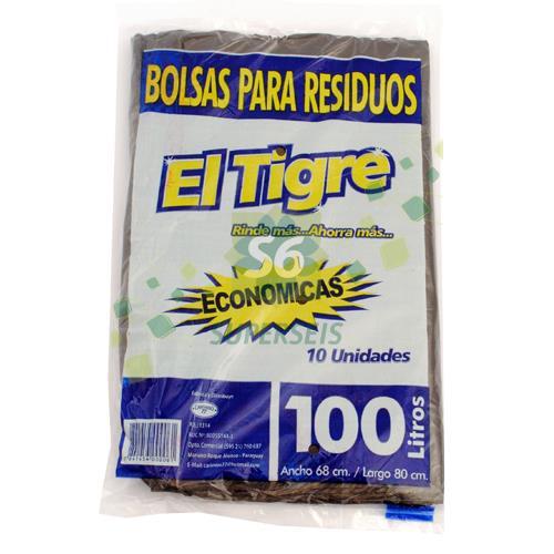 Foto BOLSA EL TIGRE PARA RESIDUOS ECONOMICA 100 LT X 10 UNIDADES  de