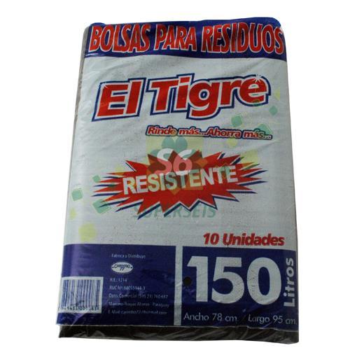 Foto BOLSA PARA RESIDUOS EL TIGRE RESISTENTE 150 LITROS 10 UNIDADES de