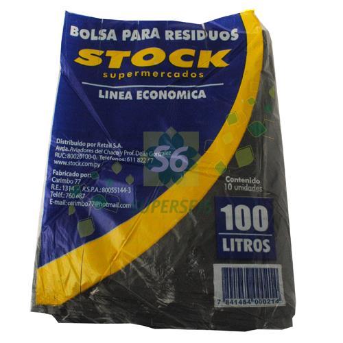 Foto BOLSA PARA RESIDUOS STOCK ECONOMICA 100 LITROS 10 UNIDADES de