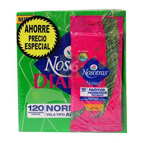 Foto PACK PROTECTOR DIARIO SIN A 120UNID/PAÑOS HUMEDOS 16UNID NOSOTRAS PAQUETE  de