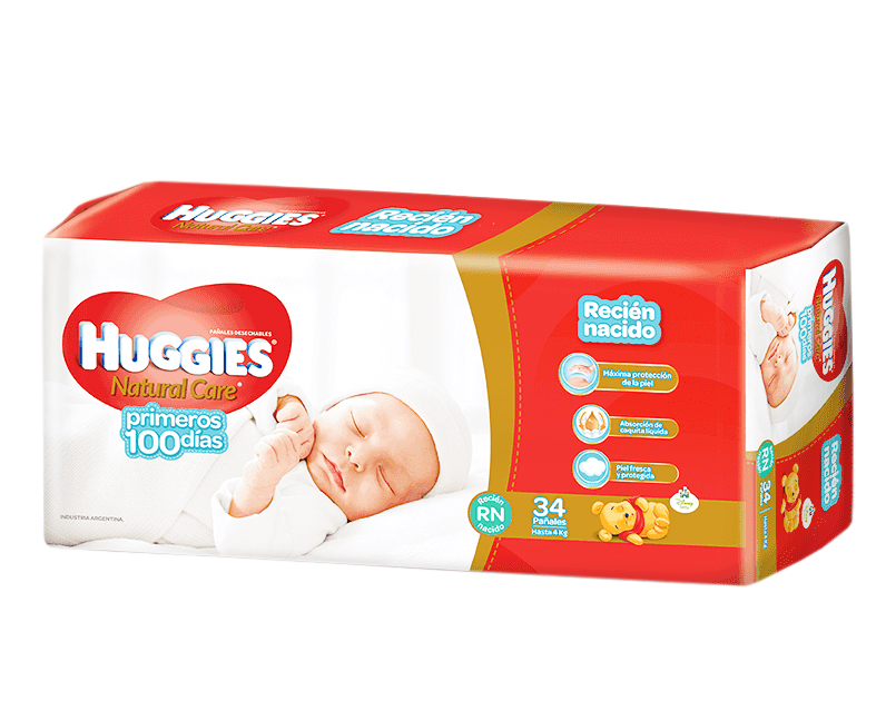 PAÑAL NATURAL CARE P/ELLAS RN 100DIAS P 34UN HUGGIES PAQ