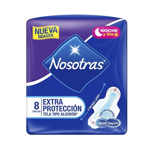 Foto TOALLA HIGIENICA NOSOTRAS EXT PROT DIA/NOC 8 UNIDADES de