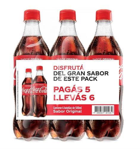 Foto PACK GASEOSA 500ML COCA COLA PAGUE 5 LLEVE 6 de