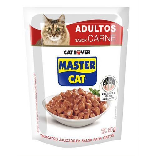 Foto ALIMENTO P/GATO MASTER CAT TROCITOS JUGOSOS CARNE 85GR de