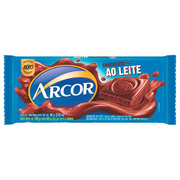 TABLETA D/CHOCOLATE CON LECHE ARCOR 80GR