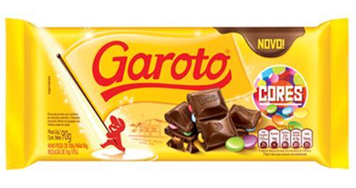 Foto CHOCOLATE C/LECHE C/GRAGEAS D/COLORES 90GR GAROTO TAB de
