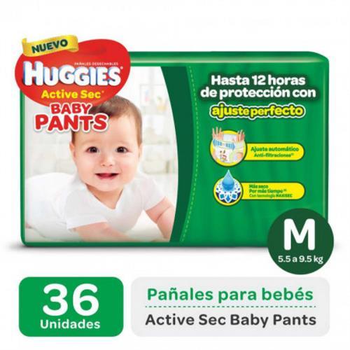 Foto PAÑALES DESECHABLES ACTIVE SEC BABY PANTS M 5.5 A 9,5KG HUGGIES 36UNID. de