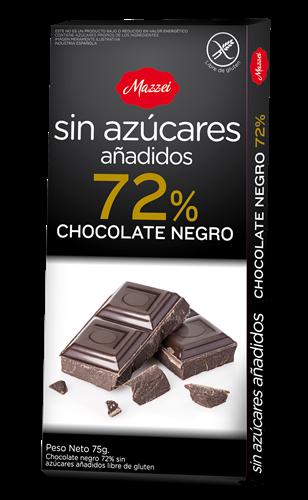 Foto CHOCOLATE TABL NEGRO S/AZUCAR AÑADIDOS 72 MAZZEI 75GR de