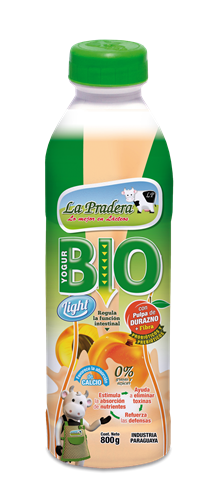 Foto YOGURT LA PRADERA BIO LIGHT CON PULPA DE DURAZNO DIET DE 800 ML de