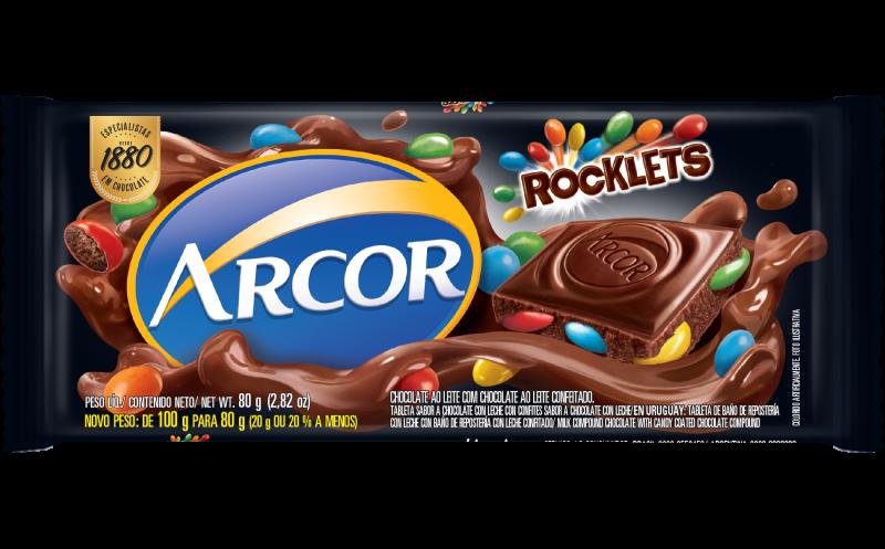 ROCKLETS TABLETA CON CONFITES SABOR CHOCOLATE CON LECHE 80 GR