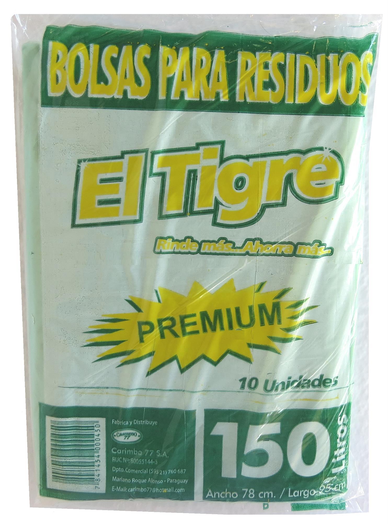 BOLSA DE RESIDUOS 150 LT X 10 UNID EL TIGRE PREMIUM PAQUETE