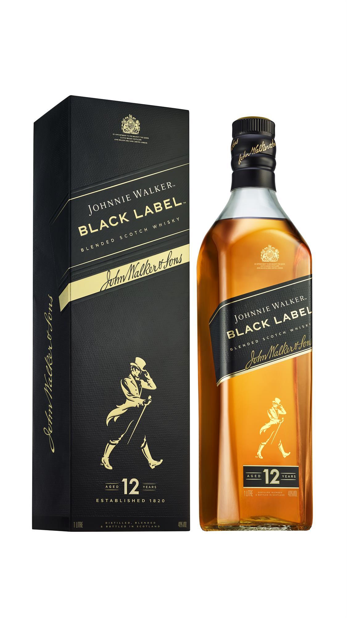 WHISKY JOHNNIE WALKER BLACK LABEL BOTELLA 1 LITRO