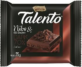 CHOCOLATE TALENTO AMARGO C/NIBS DE CACAO GAROTO 75GR PLAST