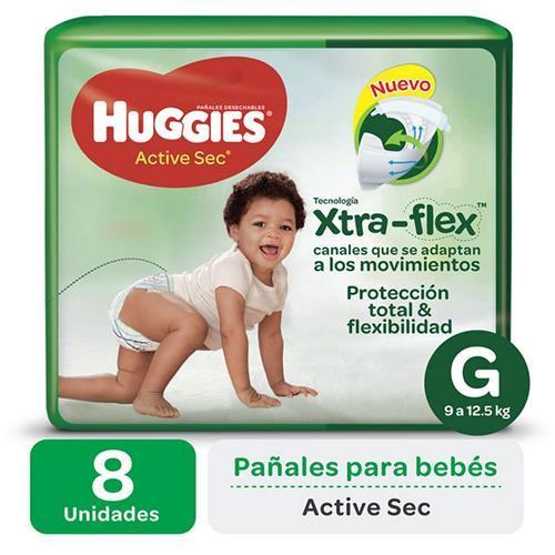 Foto PAÑAL DESECHABLE HUGGIES XTRA-FLEX  TAMAÑO G 8 UNID. de