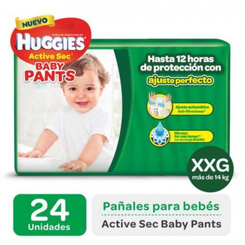Foto PAÑAL DESECHABLE XXG ACTIVE SEC BABY PANTS 14KG HUGGIES 24UNID. de