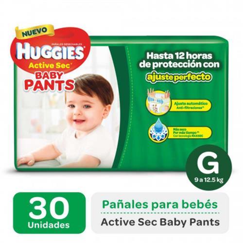 Foto PAÑAL DESECHABLE ACTIVE SEC BABY PANTS G 9 A 12,5KG HUGGIES 30UNID. de