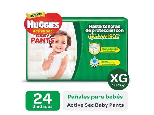 Foto PAÑAL DESECHABLE ACTIVE SEC BABY PANTS XG 12 A 15KG HUGGIES 24UNID. de