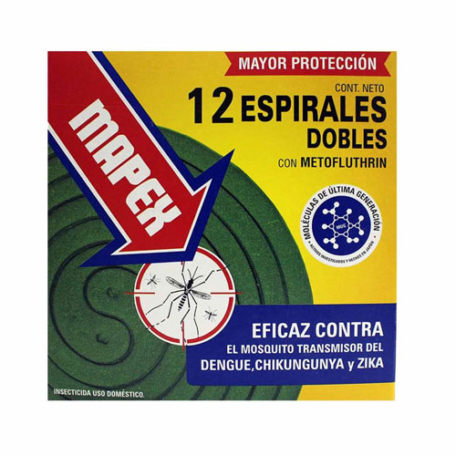ESPIRALES DOBLE CON METOFLUTHRIN MAPEX 12Unidades