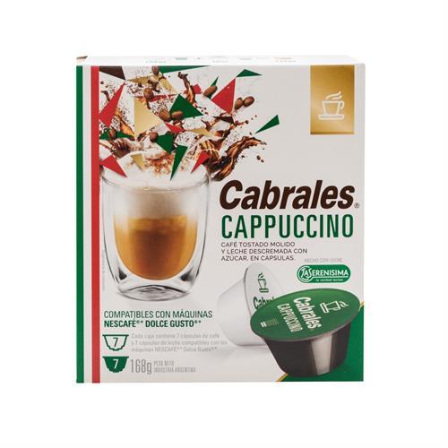 Foto CABRALES CAPUCCINO CAFE TOSTADO MOLIDO CON LECHE EN POLVO 7 CAPSULAS 168 GR de